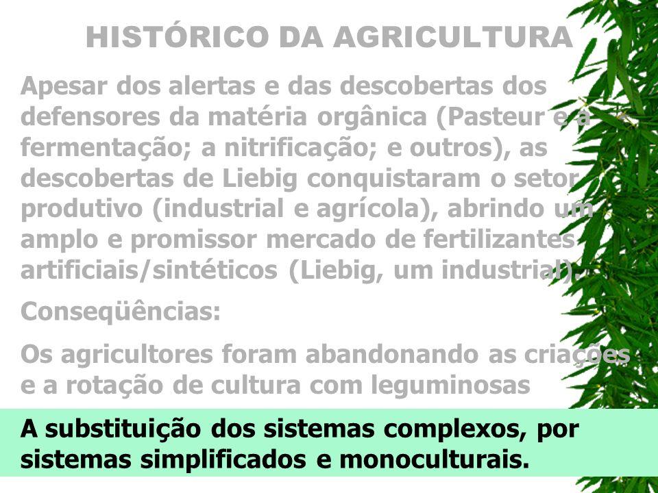 HISTÓRICO DA AGRICULTURA Apesar dos alertas e das descobertas dos defensores da mat é ria orgânica (Pasteur e a fermenta ç ão; a nitrifica ç ão; e out