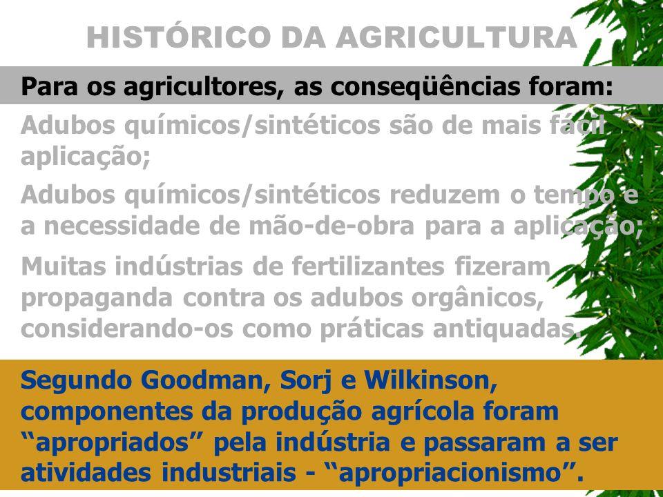 HISTÓRICO DA AGRICULTURA Para os agricultores, as conseq ü ências foram: Adubos qu í micos/sint é ticos são de mais f á cil aplica ç ão; Segundo Goodm