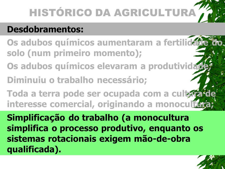 HISTÓRICO DA AGRICULTURA Desdobramentos: Os adubos qu í micos aumentaram a fertilidade do solo (num primeiro momento); Simplifica ç ão do trabalho (a