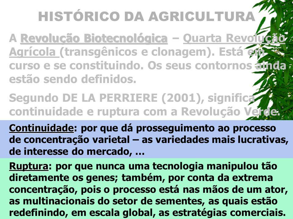 HISTÓRICO DA AGRICULTURA Revolu ç ão Biotecnol ó gica A Revolu ç ão Biotecnol ó gica – Quarta Revolu ç ão Agr í cola (transgênicos e clonagem). Est á