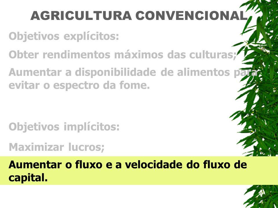 AGRICULTURA CONVENCIONAL Objetivos expl í citos: Obter rendimentos m á ximos das culturas; Aumentar a disponibilidade de alimentos para evitar o espec