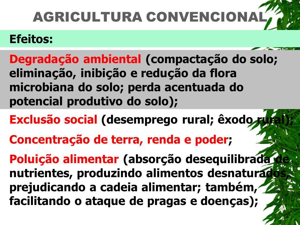 AGRICULTURA CONVENCIONAL Efeitos: Degrada ç ão ambiental (compacta ç ão do solo; elimina ç ão, inibi ç ão e redu ç ão da flora microbiana do solo; per