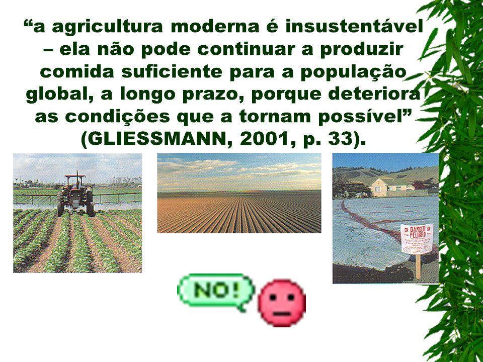 a agricultura moderna é insustentável – ela não pode continuar a produzir comida suficiente para a população global, a longo prazo, porque deteriora a