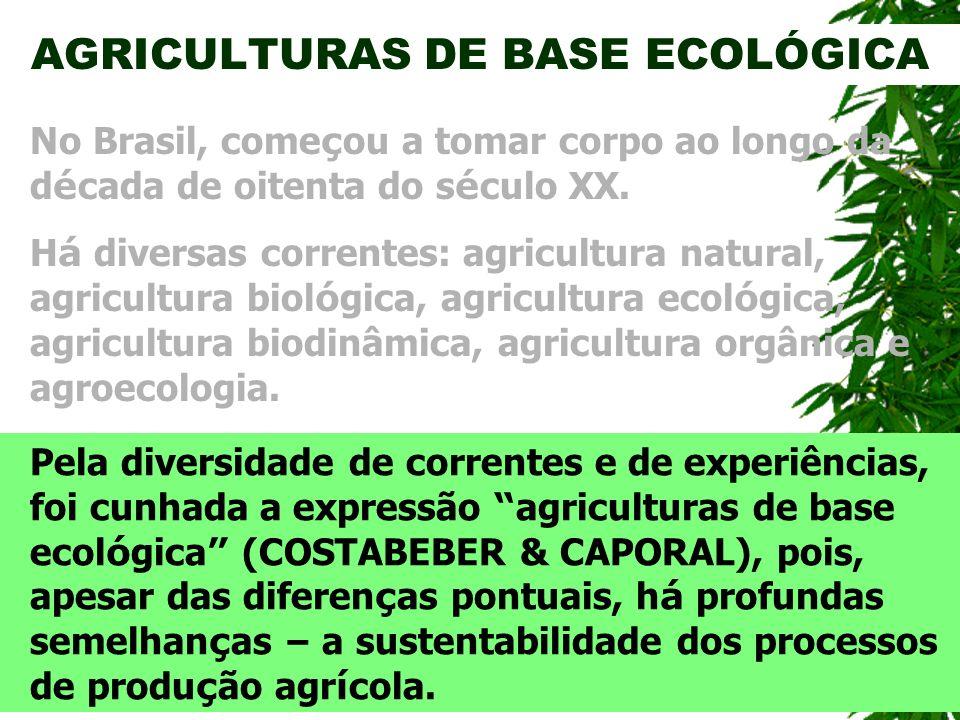 AGRICULTURAS DE BASE ECOLÓGICA H á diversas correntes: agricultura natural, agricultura biol ó gica, agricultura ecol ó gica, agricultura biodinâmica,