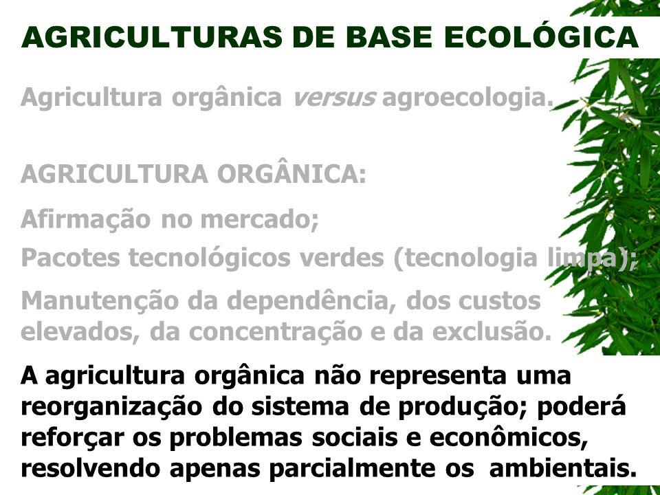 AGRICULTURAS DE BASE ECOLÓGICA AGRICULTURA ORGÂNICA: Agricultura orgânica versus agroecologia. Manuten ç ão da dependência, dos custos elevados, da co