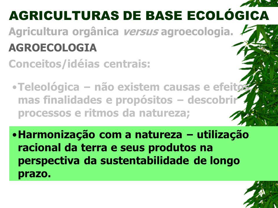 AGRICULTURAS DE BASE ECOLÓGICA AGROECOLOGIA Agricultura orgânica versus agroecologia. Conceitos/id é ias centrais: Harmoniza ç ão com a natureza – uti
