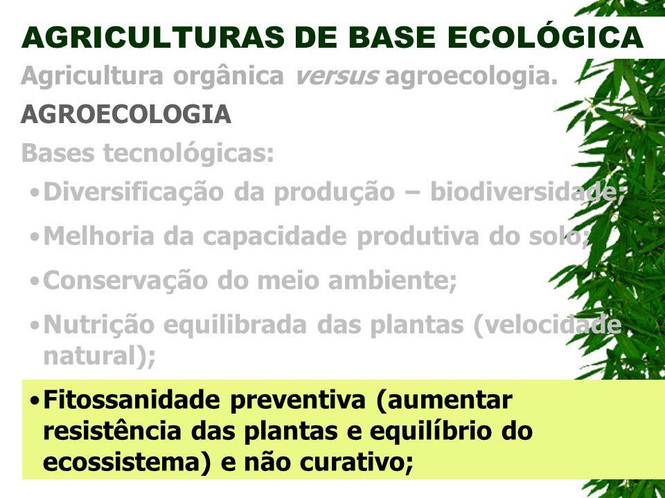 AGRICULTURAS DE BASE ECOLÓGICA AGROECOLOGIA Agricultura orgânica versus agroecologia. Bases tecnol ó gicas: Conserva ç ão do meio ambiente; Diversific
