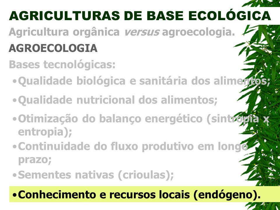 AGRICULTURAS DE BASE ECOLÓGICA AGROECOLOGIA Agricultura orgânica versus agroecologia. Bases tecnol ó gicas: Otimização do balanço energético (sintropi