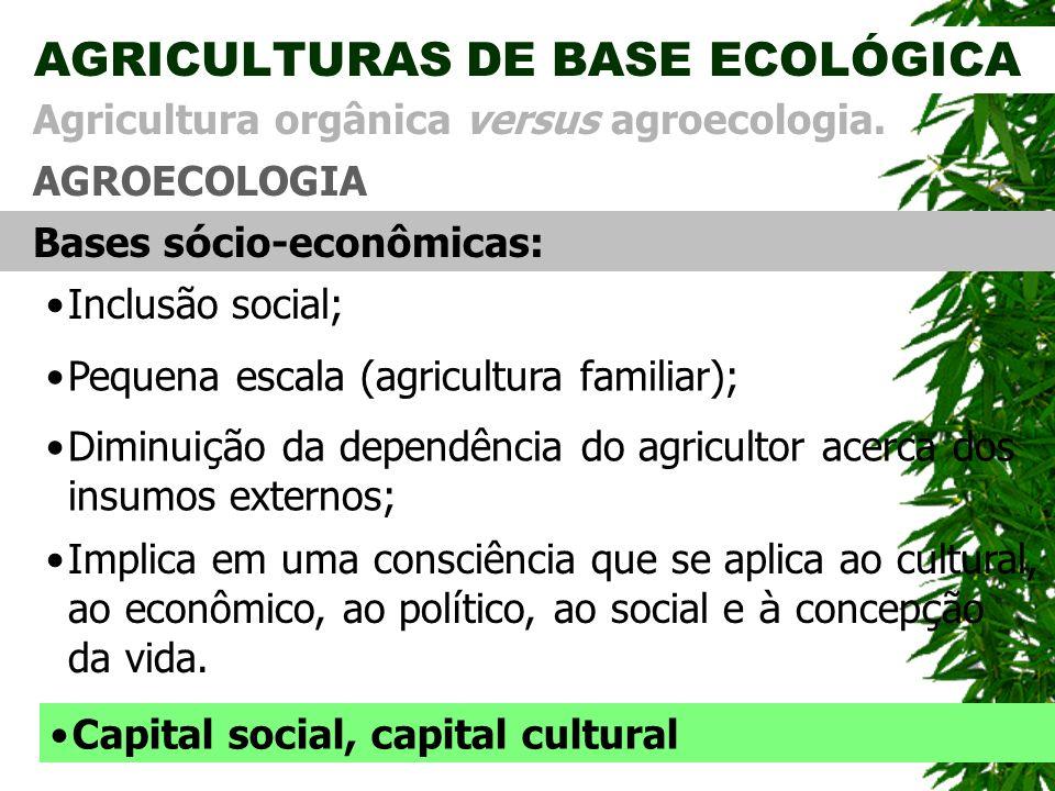 AGRICULTURAS DE BASE ECOLÓGICA AGROECOLOGIA Agricultura orgânica versus agroecologia. Bases s ó cio-econômicas: Diminui ç ão da dependência do agricul