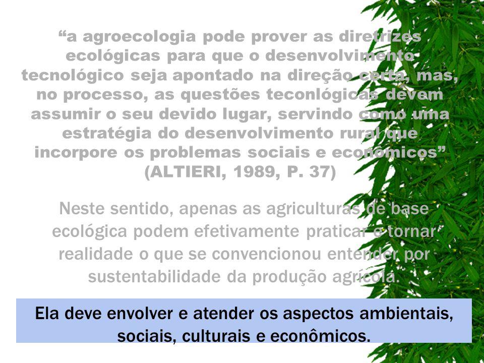 a agroecologia pode prover as diretrizes ecológicas para que o desenvolvimento tecnológico seja apontado na direção certa, mas, no processo, as questõ