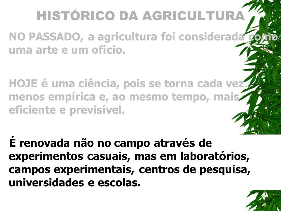 HISTÓRICO DA AGRICULTURA NO PASSADO, a agricultura foi considerada como uma arte e um of í cio. HOJE é uma ciência, pois se torna cada vez menos emp í