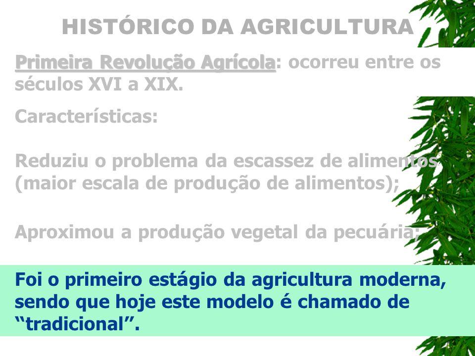 HISTÓRICO DA AGRICULTURA Primeira Revolução Agrícola Primeira Revolução Agrícola: ocorreu entre os séculos XVI a XIX. Caracter í sticas: Aproximou a p