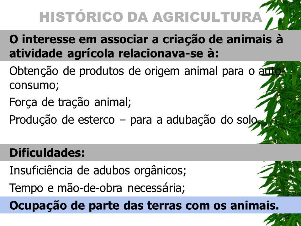 HISTÓRICO DA AGRICULTURA O interesse em associar a cria ç ão de animais à atividade agr í cola relacionava-se à : Obten ç ão de produtos de origem ani