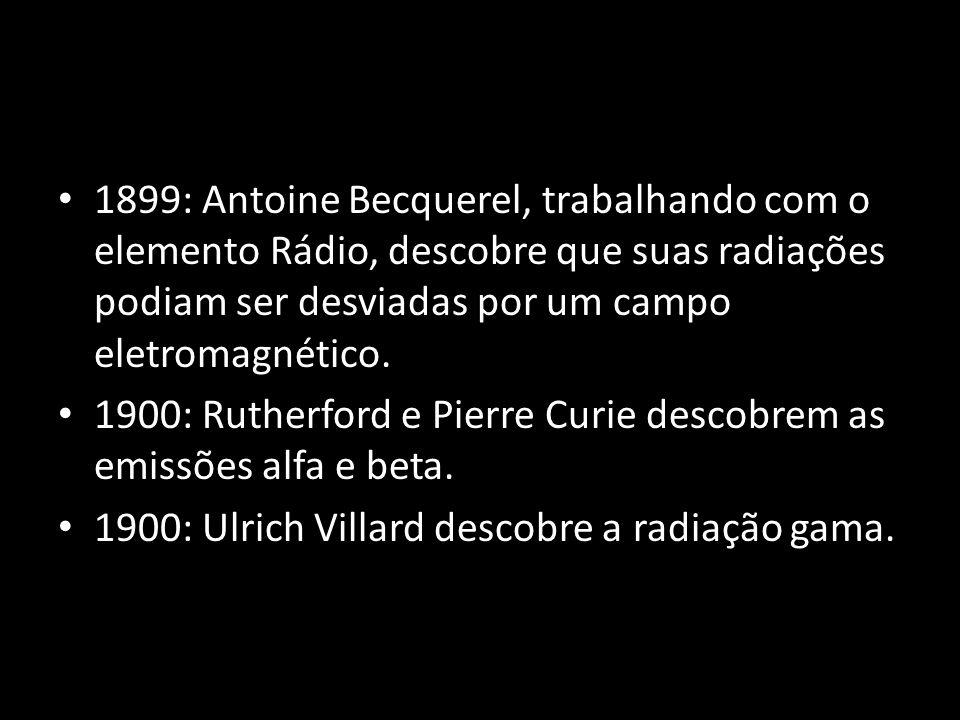 1899: Antoine Becquerel, trabalhando com o elemento Rádio, descobre que suas radiações podiam ser desviadas por um campo eletromagnético. 1900: Ruther