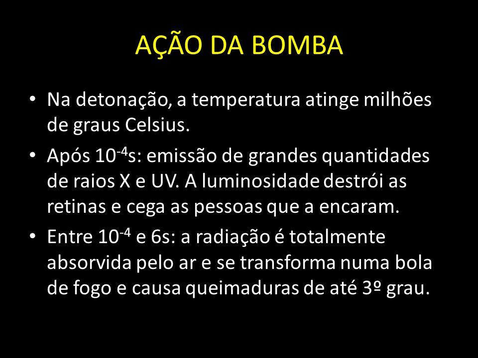 AÇÃO DA BOMBA Na detonação, a temperatura atinge milhões de graus Celsius. Após 10 -4 s: emissão de grandes quantidades de raios X e UV. A luminosidad