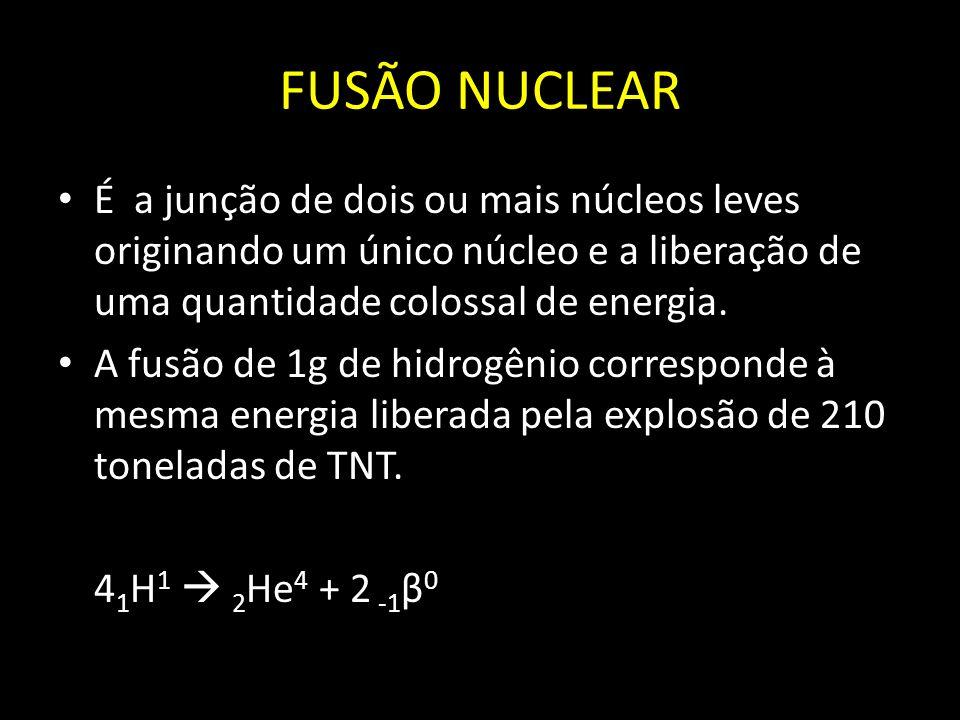 FUSÃO NUCLEAR É a junção de dois ou mais núcleos leves originando um único núcleo e a liberação de uma quantidade colossal de energia. A fusão de 1g d
