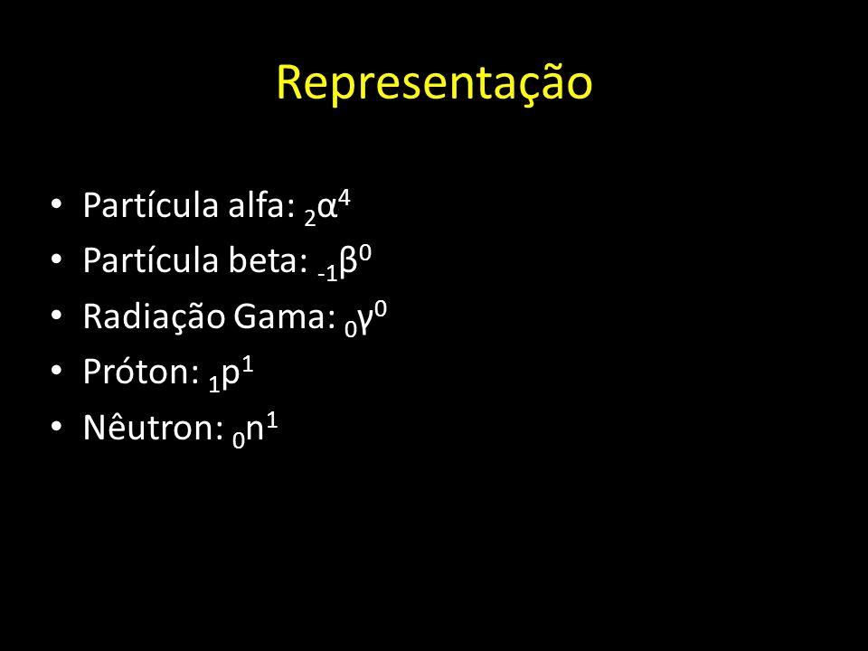 Representação Partícula alfa: 2 α 4 Partícula beta: -1 β 0 Radiação Gama: 0 γ 0 Próton: 1 p 1 Nêutron: 0 n 1