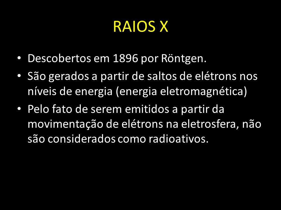 RAIOS X Descobertos em 1896 por Röntgen. São gerados a partir de saltos de elétrons nos níveis de energia (energia eletromagnética) Pelo fato de serem