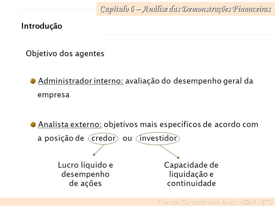 Capítulo 6 – Análise das Demonstrações Financeiras Administrador interno: avaliação do desempenho geral da empresa Analista externo: objetivos mais es