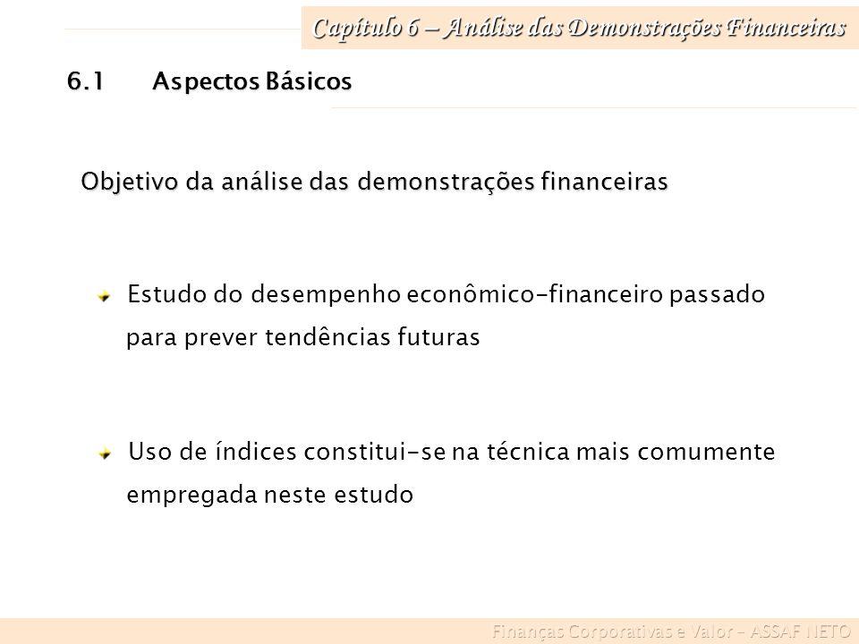 Capítulo 6 – Análise das Demonstrações Financeiras 6.3Índices Econômico-Financeiros de Análise Liquidez e atividade Endividamento e estrutura rentabilidade Análise de ações 4 grupos de indicadores básicos: