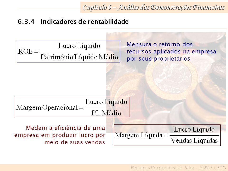 Capítulo 6 – Análise das Demonstrações Financeiras 6.3.4Indicadores de rentabilidade Medem a eficiência de uma empresa em produzir lucro por meio de s