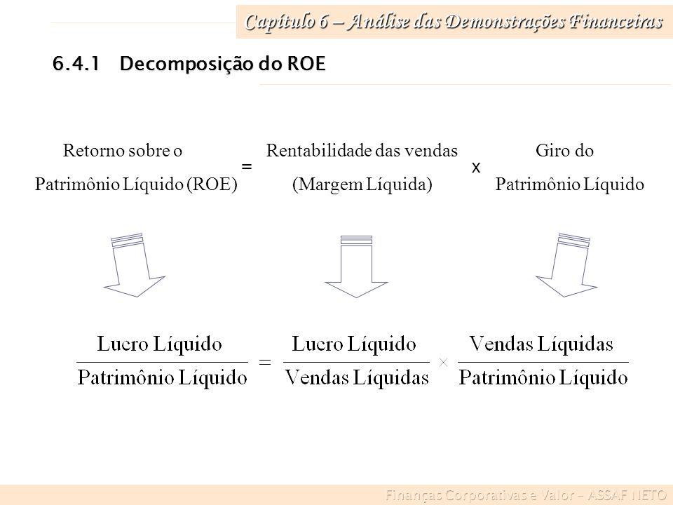 Capítulo 6 – Análise das Demonstrações Financeiras 6.4.1Decomposição do ROE Retorno sobre o Rentabilidade das vendas Giro do Patrimônio Líquido (ROE)