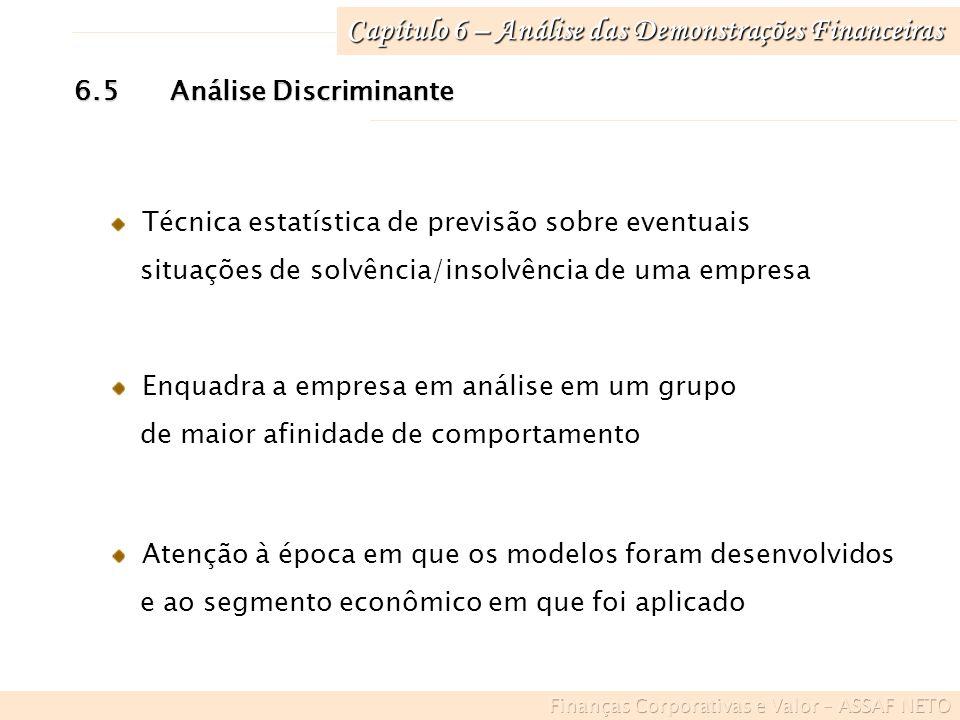 Capítulo 6 – Análise das Demonstrações Financeiras 6.5Análise Discriminante Técnica estatística de previsão sobre eventuais situações de solvência/ins