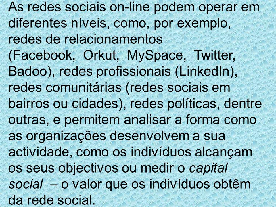 As redes sociais on-line podem operar em diferentes níveis, como, por exemplo, redes de relacionamentos (Facebook, Orkut, MySpace, Twitter, Badoo), re