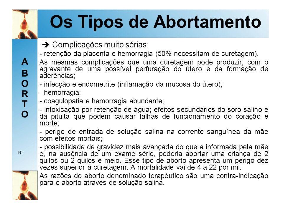 ABORTOABORTO Nº: Os Tipos de Abortamento Complicações muito sérias: - retenção da placenta e hemorragia (50% necessitam de curetagem).