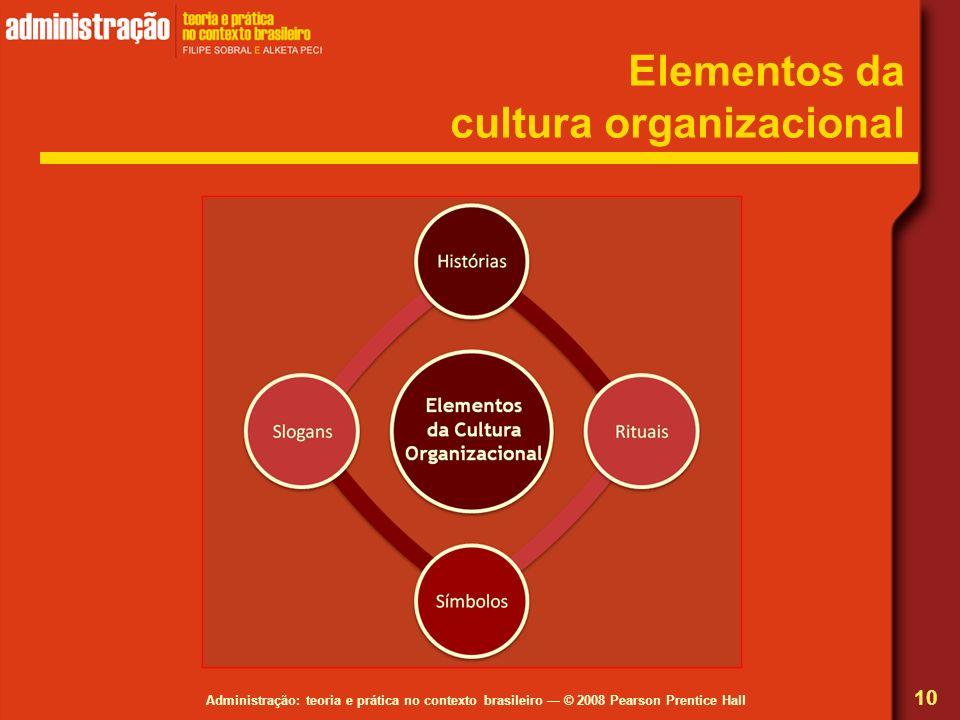 Administração: teoria e prática no contexto brasileiro © 2008 Pearson Prentice Hall Elementos da cultura organizacional 10