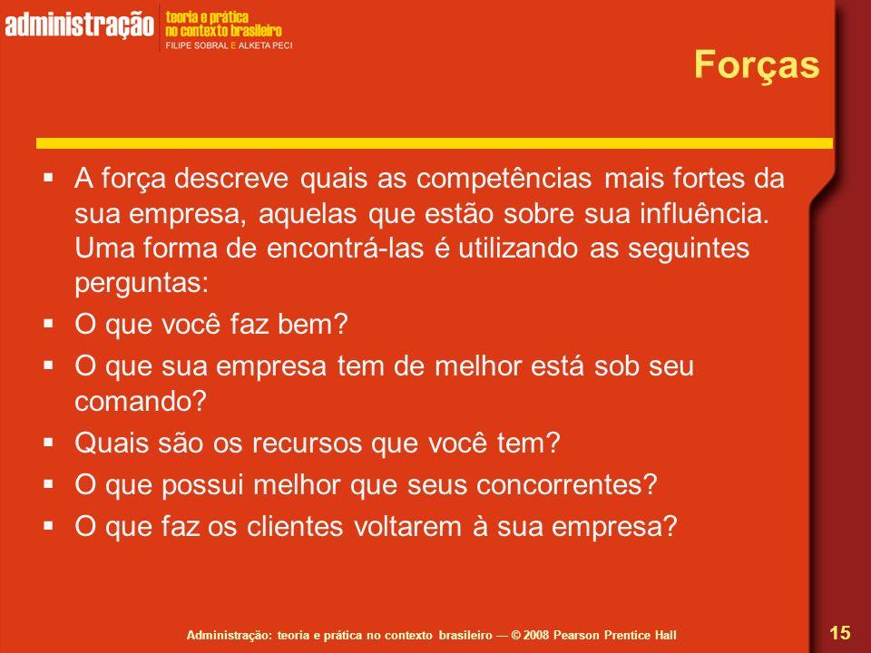 Administração: teoria e prática no contexto brasileiro © 2008 Pearson Prentice Hall Forças A força descreve quais as competências mais fortes da sua e