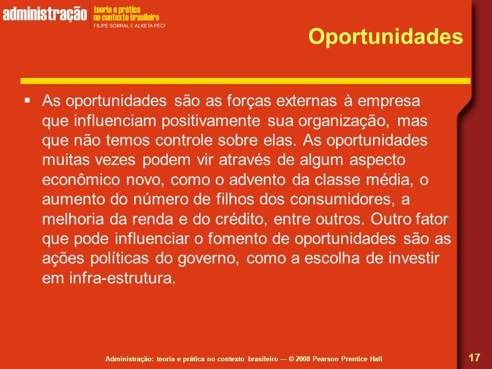 Administração: teoria e prática no contexto brasileiro © 2008 Pearson Prentice Hall Oportunidades As oportunidades são as forças externas à empresa qu