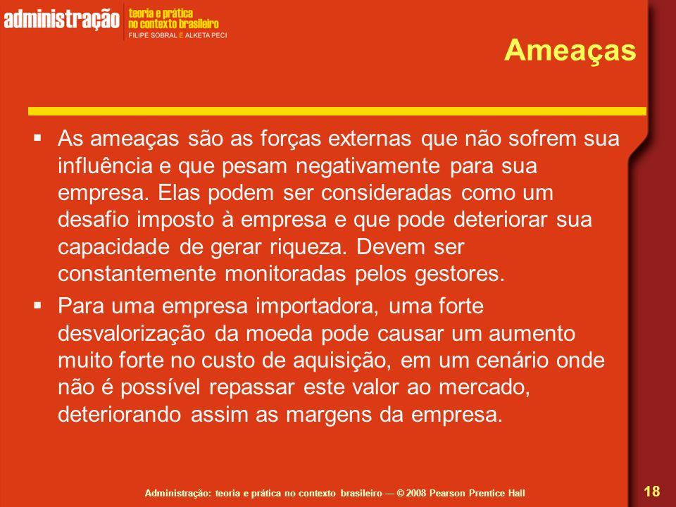Administração: teoria e prática no contexto brasileiro © 2008 Pearson Prentice Hall Ameaças As ameaças são as forças externas que não sofrem sua influ
