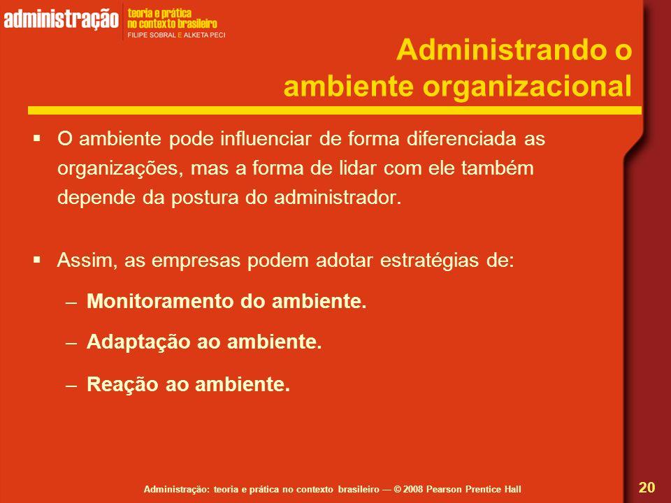 Administração: teoria e prática no contexto brasileiro © 2008 Pearson Prentice Hall Administrando o ambiente organizacional O ambiente pode influencia