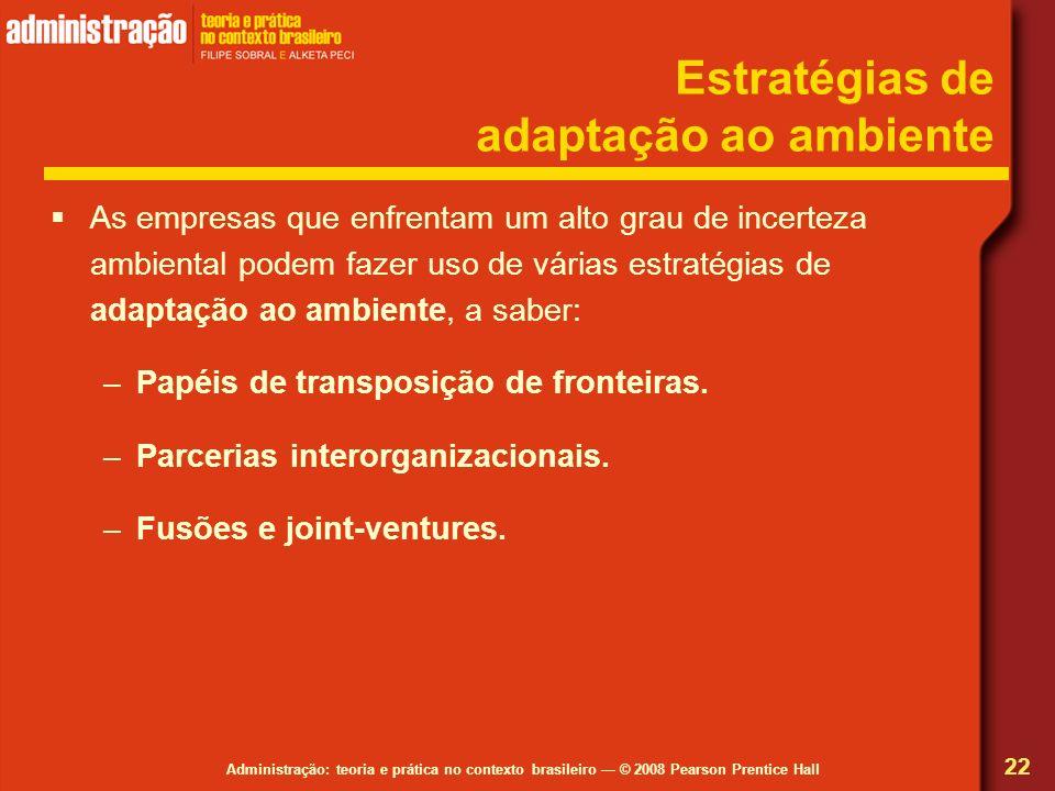 Administração: teoria e prática no contexto brasileiro © 2008 Pearson Prentice Hall Estratégias de adaptação ao ambiente As empresas que enfrentam um