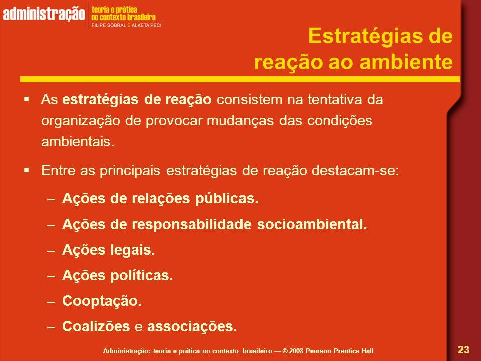 Administração: teoria e prática no contexto brasileiro © 2008 Pearson Prentice Hall Estratégias de reação ao ambiente As estratégias de reação consist