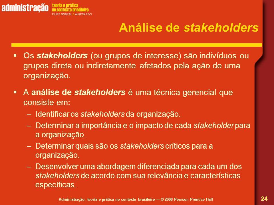 Administração: teoria e prática no contexto brasileiro © 2008 Pearson Prentice Hall Análise de stakeholders Os stakeholders (ou grupos de interesse) s