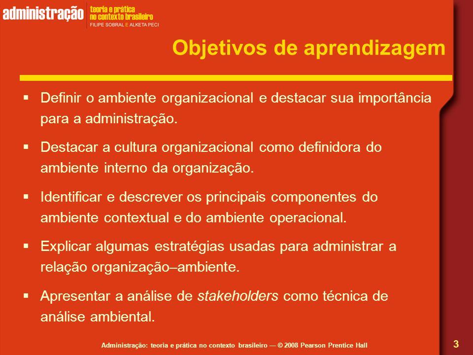 Administração: teoria e prática no contexto brasileiro © 2008 Pearson Prentice Hall Objetivos de aprendizagem Definir o ambiente organizacional e dest