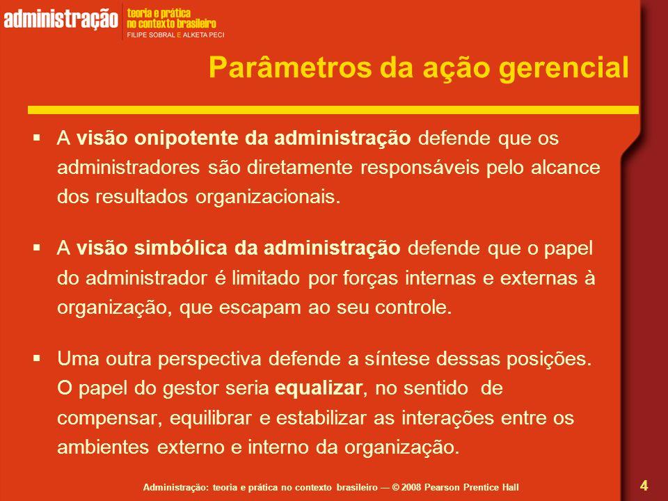 Administração: teoria e prática no contexto brasileiro © 2008 Pearson Prentice Hall Parâmetros da ação gerencial A visão onipotente da administração d