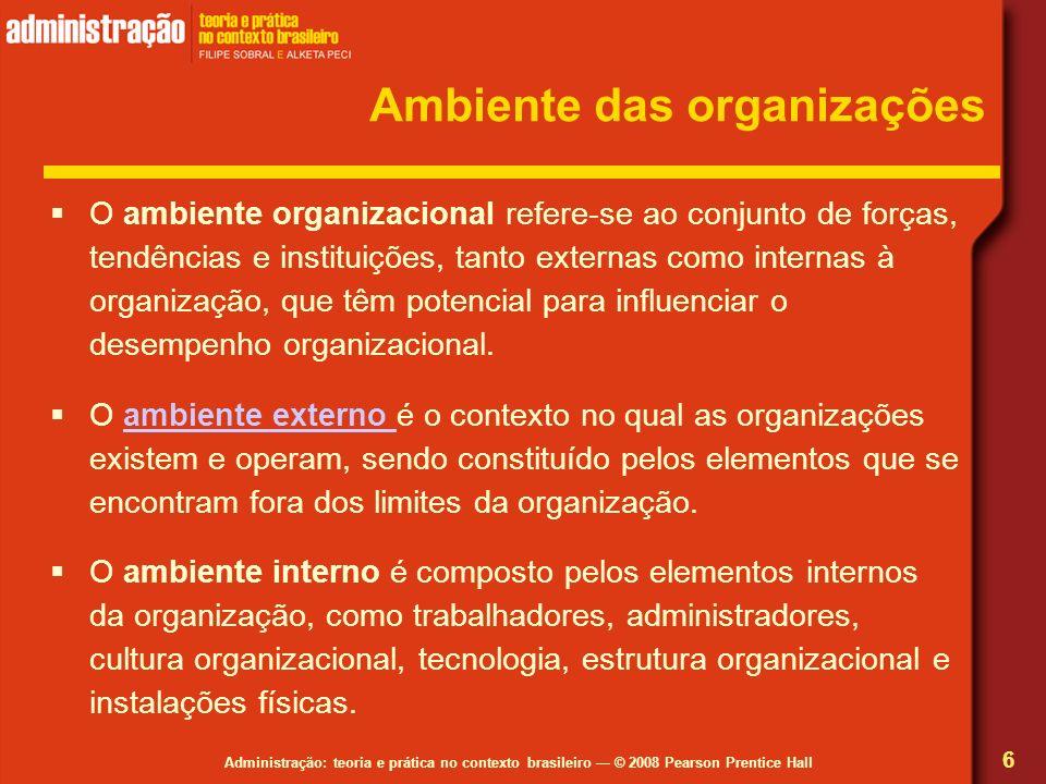 Administração: teoria e prática no contexto brasileiro © 2008 Pearson Prentice Hall Ambiente das organizações O ambiente organizacional refere-se ao c
