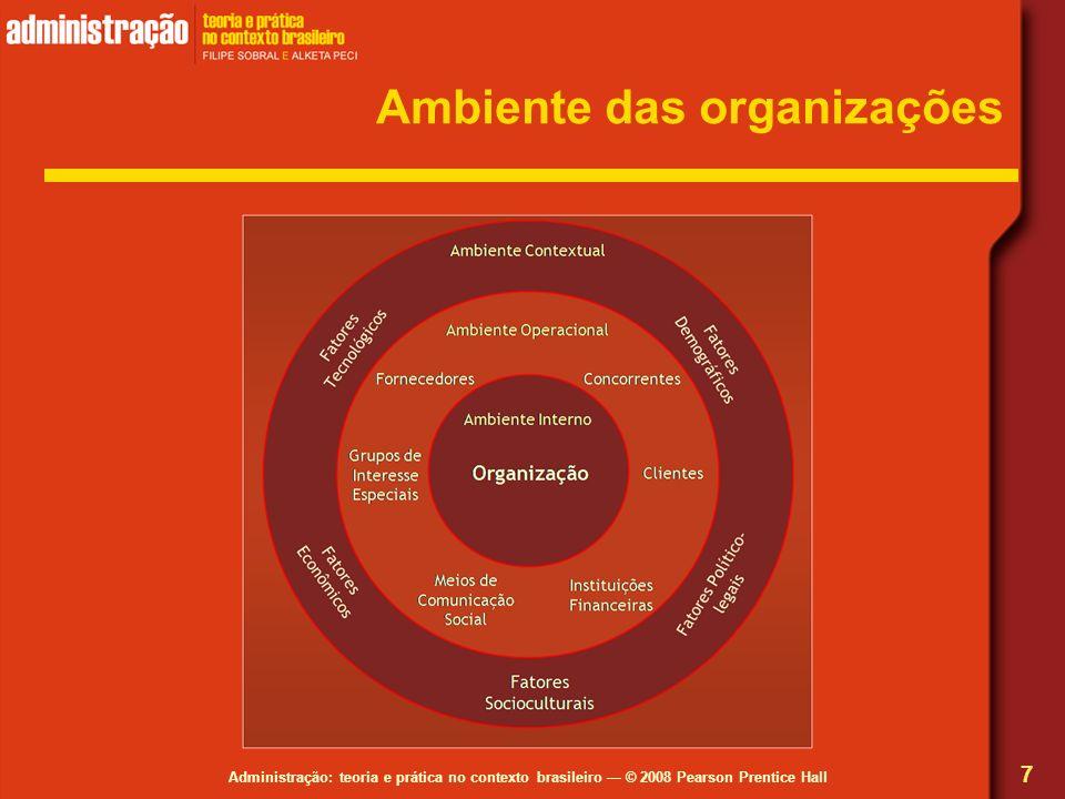 Administração: teoria e prática no contexto brasileiro © 2008 Pearson Prentice Hall Ambiente das organizações 7