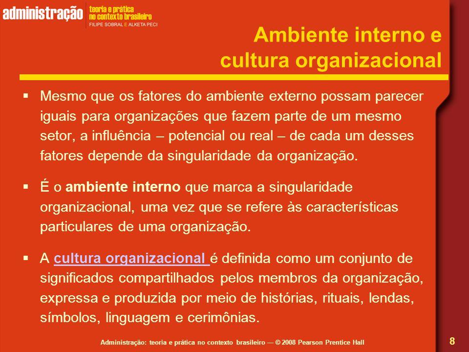 Administração: teoria e prática no contexto brasileiro © 2008 Pearson Prentice Hall Ambiente interno e cultura organizacional Mesmo que os fatores do