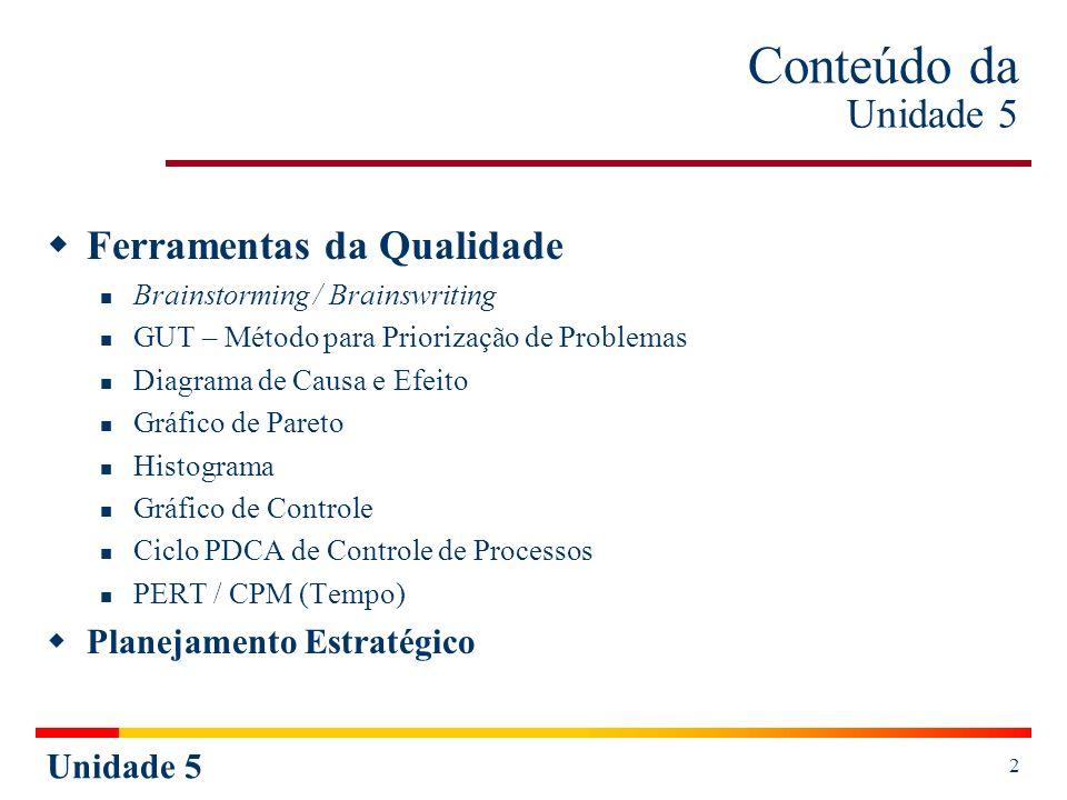 Unidade 5 2 Conteúdo da Unidade 5 Ferramentas da Qualidade Brainstorming / Brainswriting GUT – Método para Priorização de Problemas Diagrama de Causa