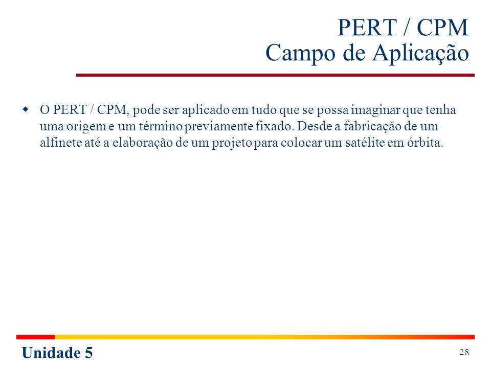Unidade 5 28 PERT / CPM Campo de Aplicação O PERT / CPM, pode ser aplicado em tudo que se possa imaginar que tenha uma origem e um término previamente