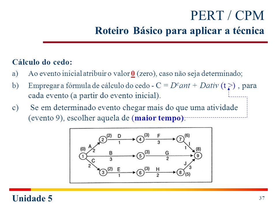 Unidade 5 37 PERT / CPM Roteiro Básico para aplicar a técnica Cálculo do cedo: a)Ao evento inicial atribuir o valor 0 (zero), caso não seja determinad