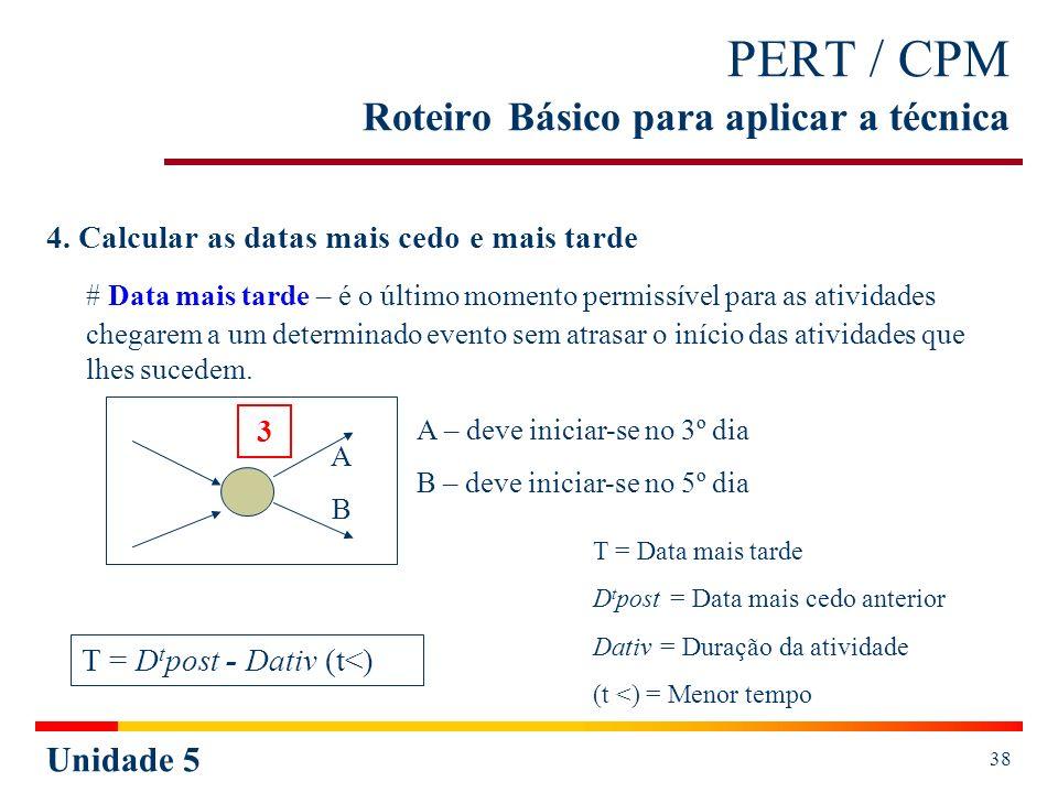Unidade 5 39 PERT / CPM Roteiro Básico para aplicar a técnica Cálculo do tarde (exatamente igual ao do cedo, mas no sentido inverso): a)Ao evento final atribuir o mesmo valor da data mais cedo final (quando não determinado); b)Empregar a fórmula de cálculo do tarde T = D t post - Dativ (t<), para cada evento (a partir do evento final); c)Se de determinado evento partir mais do que uma atividade (evento 1), compare as atividades que dele saíram (A, B e C) e escolha a de menor valor.