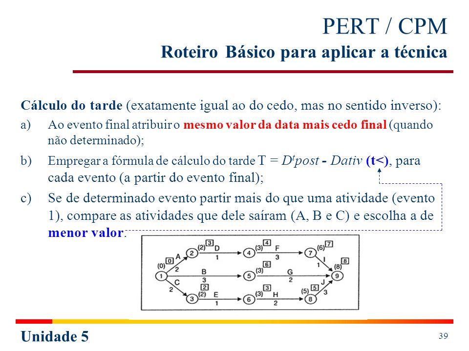 Unidade 5 39 PERT / CPM Roteiro Básico para aplicar a técnica Cálculo do tarde (exatamente igual ao do cedo, mas no sentido inverso): a)Ao evento fina