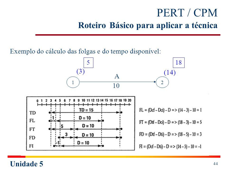 Unidade 5 44 PERT / CPM Roteiro Básico para aplicar a técnica Exemplo do cálculo das folgas e do tempo disponível: 12 518 (3) (14) A 10