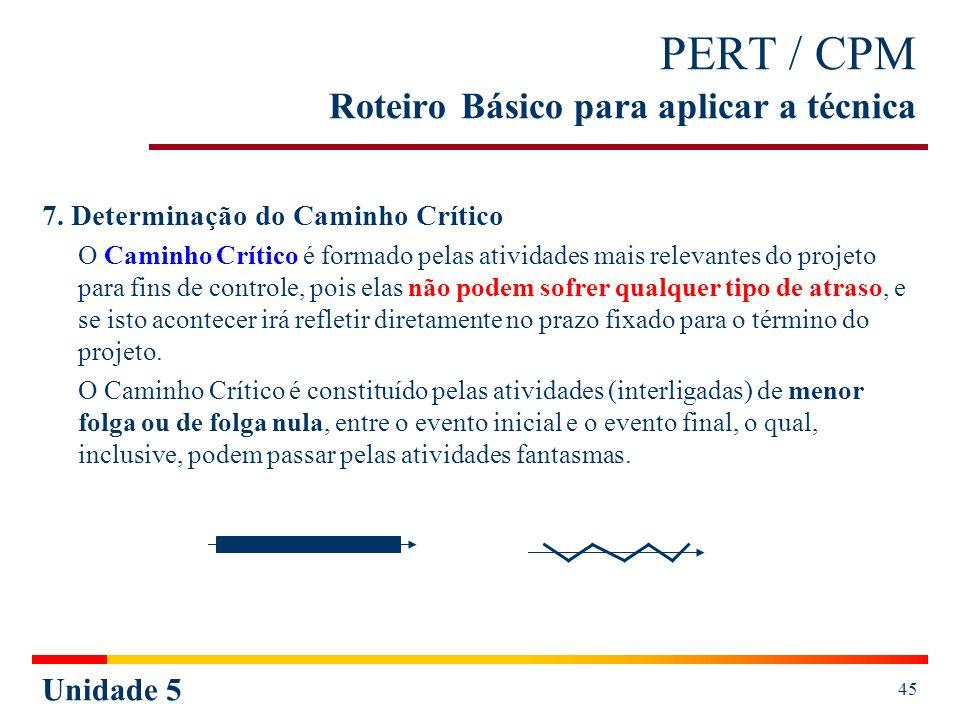 Unidade 5 46 PERT / CPM Roteiro Básico para aplicar a técnica Métodos para estabelecer o Caminho Crítico: 1º Pelas diferenças constantes entre os cedos e os tardes (encontrada no último evento).