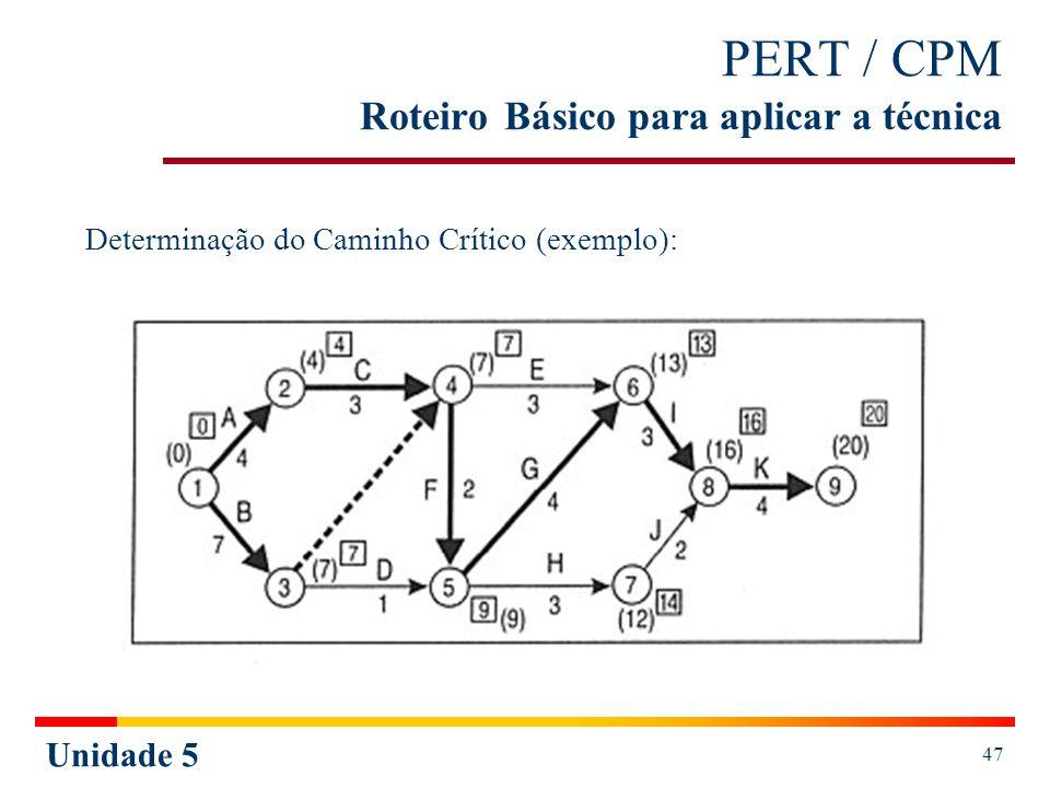 Unidade 5 48 PERT / CPM Roteiro Básico para aplicar a técnica Métodos para estabelecer o Caminho Crítico: 2º Pelas Folgas da Atividades, onde as folgas (livrem total, dependente e independente) devem ser iguais a 0 (zero).